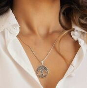 Elegant Pure .925 Sterling Silver Tree Of Life Necklace 7 Chakra Healing Natural