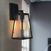 Outdoor Led Wall Light Sconce Clear Glass Lamp Shade Metal Frame Loft Fixture