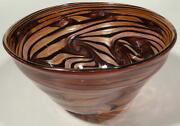 12 Hand Blown Glass Art Bowl, Dirwood, Black Gold Topaz Pink With Gold Sparkles