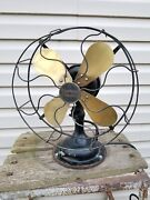 Vintage Western Electric Brass Blade Oscillating Electric Fan 12and039and039