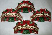 Set Of Four Napkin Rings Fitz And Floyd Night Before Christmas Merry Christmas