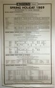 Large Vintage British Rail Station Timetable Poster 25 X 40 Selection 1960and039s
