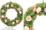 Wood Chip Easter Spring Summer Wreath W/ Carrots Country Modern Farmhouse Charm