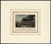 Antique Print-village Festival-clearing-awning-feast-van Laer-french-1840