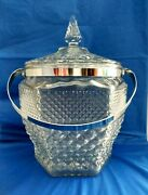 Vintage 2 Piece Anchor Hocking Wexford 10.5 Glass Ice Bucket Lid Silver Handle