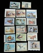 Lot Of 17 Different U.s. Duck Stamps 3.00-15.00 Varieties Used