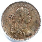1806 C-1 Pcgs Ms 63 Bn Small 6, No Stems Draped Bust Half Cent Coin 1/2c