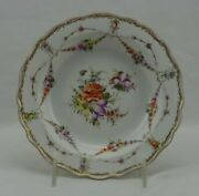 19th Century Meissen Dresden Flowers Candy Dish Bowl Crossed Swords Two Slashes