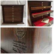 Money Chest Medals Table 10 Drawer Colour Walnut Coinsandmore Coin Cabinet Medals