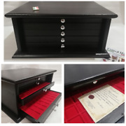 Money Chest Medals Table 5 Drawers Handmade Black Colour Coinsandmore Coin Cabinet