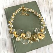 Abra Couture Cluster Choker Necklace Gold Clear Crystal Resin Beads