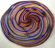 19 Hand Blown Glass Wall Or Table Platter Dirwood Gold Purple Blue Gold