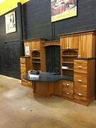 Executive Wall Deck And File Cabinets Solid Wood W Black Rounded Desk Top