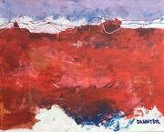 Red Contemporary Original Modern Abstract Canvas Painting Art Dan Byl Huge 4x5ft