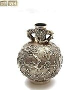 1920's Chinese Solid Silver Repousse Miniature Vase Plum Blossom Mk Wang Hing