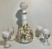 Imperial Vintage Grape Painted Milk Glass Decanter With Stopper 4 Wine Glasses
