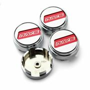 4 Pcs Ray Volk Style 67mm/63mm Ce28n Te37 Time Attack Ze40 Red Wheel Center Caps