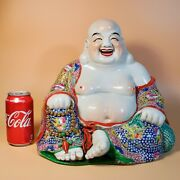 Very Large Old Chinese Porcelain Budai Buddha Statue Very Fine Studio Marked