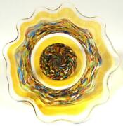16 Hand Blown Glass Art Bowl Dirwood Complex Incalmo Design Gold End Of Day