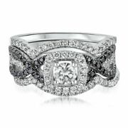 1 1/4 Ct White And Black Natural Diamond Engagement Ring Set In 14k White Gold
