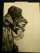 Vintage Fine Quality African Man Ceremonial Garb Pencil Drawing On Board 15x 20