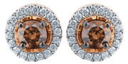 0.5 Ct Champagne And White Natural Diamond Frame Stud Earrings In 10k Rose Gold