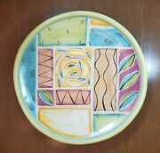 T. S. Post Ceramics 20 Redware Centerpiece Plate Abstract Design