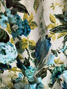 5y+vintage Mid Century 50s Polished Cotton Drapery Fabric Blue Green Floral 0356