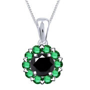 3.00 Ct Black Moissanite And Green Emerald Halo Pendant W/18 Chain 10k Solid Gold