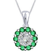 2.50 Ct White Moissanite And Green Emerald Halo Pendant W/18 Chain 10k Solid Gold