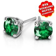 1/3 Ct Round Emerald 14k White Gold Over Sterling Silver Stud Earrings