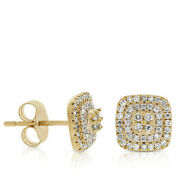 1/3 Ct White Natural Diamond 14k Yellow Gold Double Halo Stud Earrings