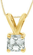 1/3 Ct Natural Diamond Solitaire Pendant Necklace 14k Yellow Gold