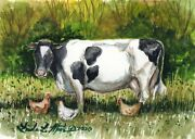 Milk Cow Chickens Original Rustic Watercolor Llmartin Free Shipping Usa Painting