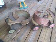 2 Vintage 1920and039s 1930and039s Child/toddler/baby Metal Walkers Photo Props Dolls