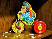 Antique/vintage J. Fred Muggs Wooden Pull Toy Metal Wheels And Bell