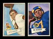 1952 Bowman Small 2 Otto Graham And 137 Bob Waterfield Centered G-vg+ To Vg-ex+