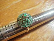 Antique 14 K Gold And Rose Cut Emeralds Hand Crafted Christmas Tree Cocktail Ring