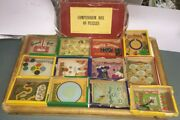 R. Journet And Co. Dexterity Puzzle Lot Of 12 With Box Lid Donimo, Double Seven+