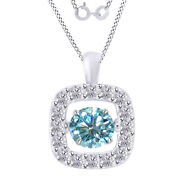 4.00 Ctw Round Blue Moissanite Halo Dancing Pendant W/18 Chain 10k Solid Gold