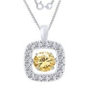 3.75 Ctw Round Yellow Moissanite Halo Dancing Pendant W/18 Chain 10k Solid Gold