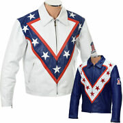 Evel Knievel Legend Usa Daredevil Stunt Man Full Leather Ce Armored Biker Jacket