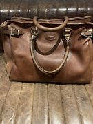 Oroton Brown Leather Large Travel Bag