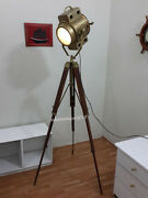 Designers Hand Made Antique Floor Searchlight Tripod Floor Lamps