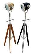 Nautical Collectible Wooden Search Light Spotlight With Tripod Stand Set Of Two
