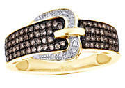 0.37 Cttw Natural Diamond Buckle Band Ring 10k Yellow Gold