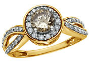 1 Ct Round Cut Brown Diamond Framed Twisted Shank Fancy Ring In 14k Yellow Gold