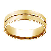 14k Yellow Gold 6mm Comfort Fit Polished Center Cut Carved Menand039s Band Ring Sz 7