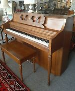 Rudolph Wurlitzer Walnut Spine Piano W/ Bench Excellent Made In Germany Pick-up