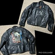 70s Amf Harley Davidson Great China Wall Distressed Leather Jacket Hand Paint 42